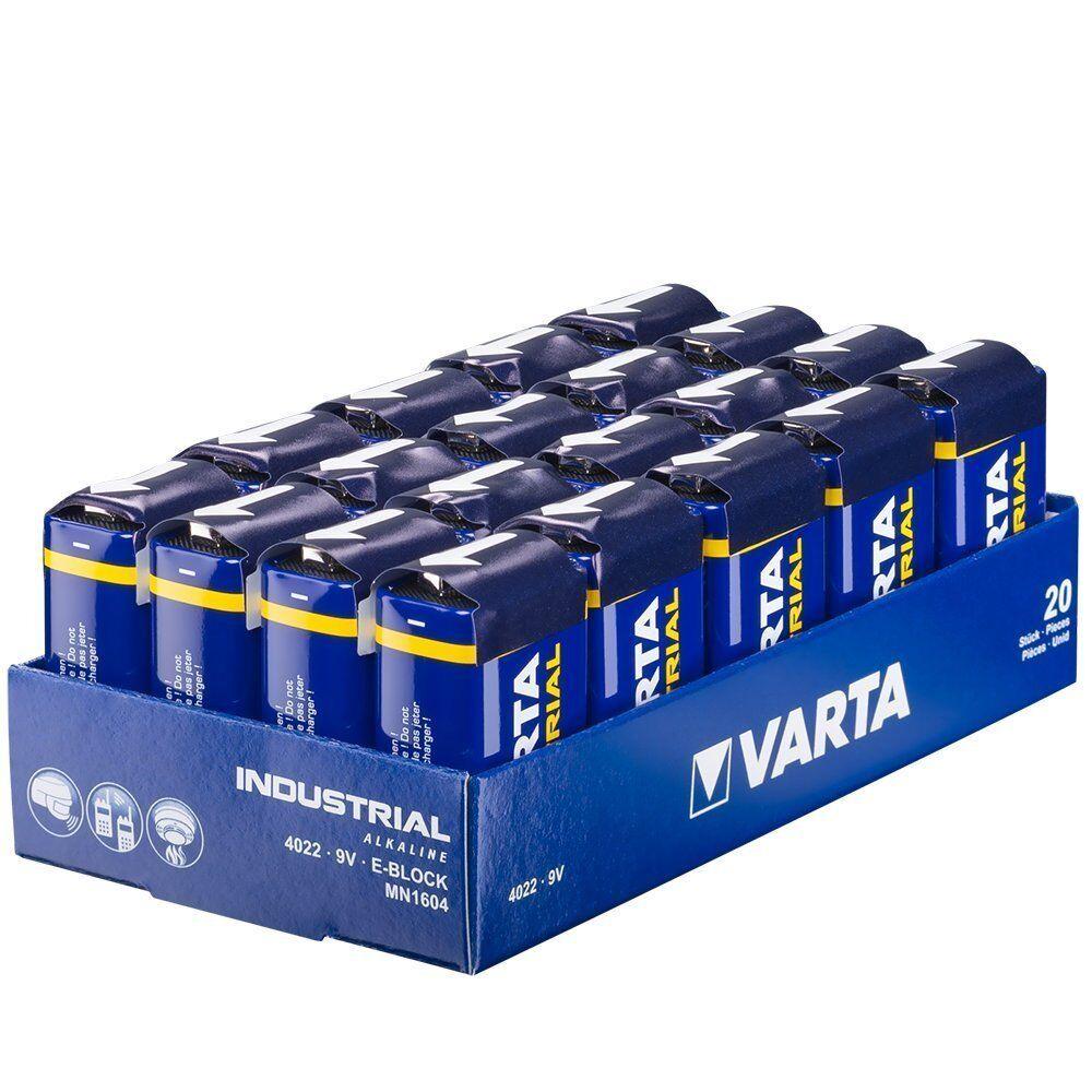20x Varta 9V Block Batterie 6LR61 E-Block Alkaline Rauchmelder Maxpower 9V Smoke
