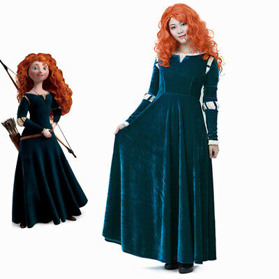 Princess Merida Costume Dress Disney Brave Cosplay Fancy Dress Lady Women - Disney Costums