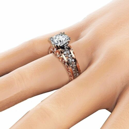 Damen Fingerring Bandringe Strass Ringe Modeschmuck Verlobungsring Ehering Gifts