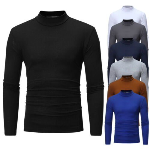 Men's Autumn Pure Color Turtleneck Long Sleeve Resilience T-shirt Top Blouse