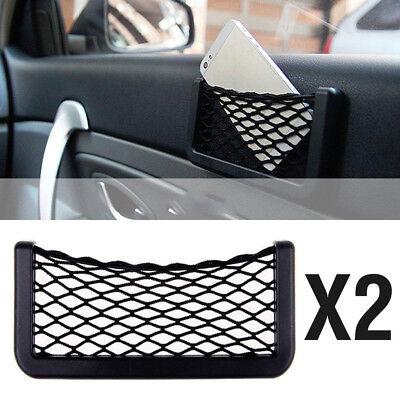 2pcs Universal Car Net Bag Phone Holder Storage Pocket Organizer for wallet keys