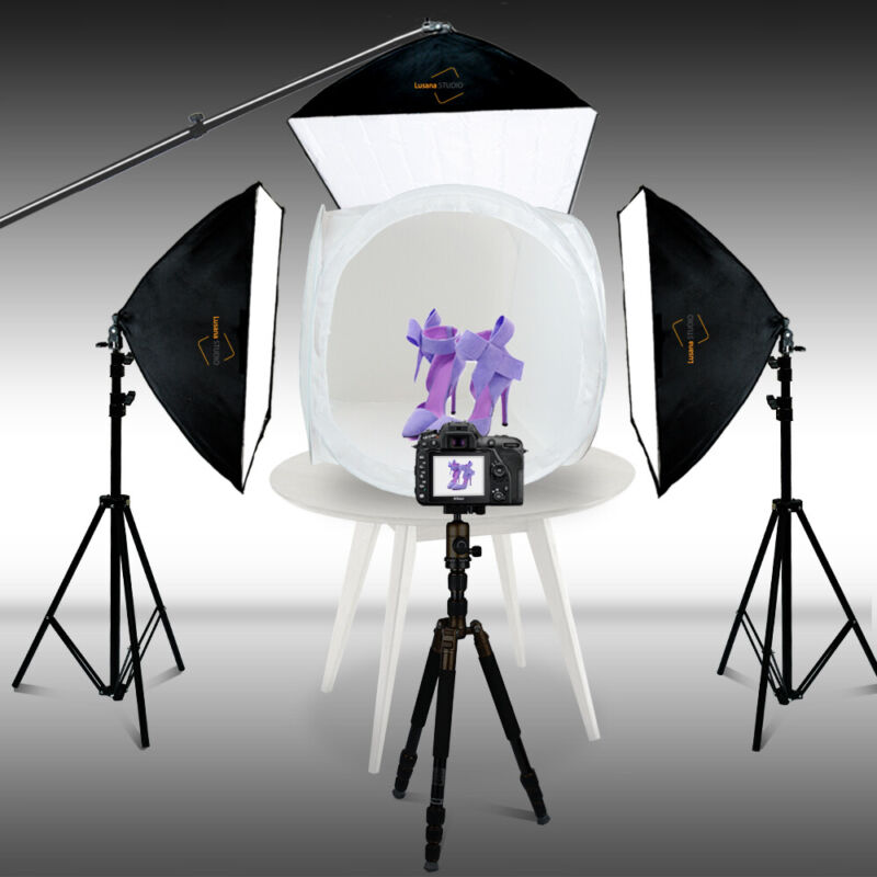 "Light Tent Backdrop Kit Cube Photo Studio Photography 24"" 60cm Lighting In A Box"