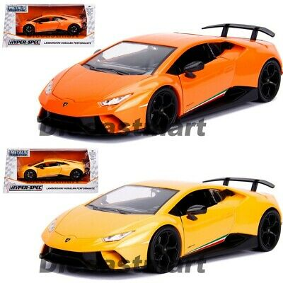 24 Yellow Diecast Car (LAMBORGHINI HURACAN PERFORMANTE 1:24 DIECAST CAR MODEL BY JADA ORANGE YELLOW)