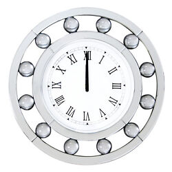 Boffa Round Mirrored Wall Clock Quartz Roman Numerals Crystal Decor 20 Dia