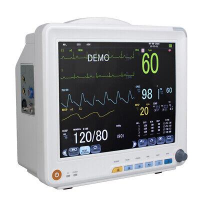 Icu 12 Inch 6-parameter Patient Monitor Cardiac Vital Signs With Alarm Ecg Spo2