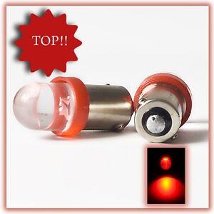 6V 2 Stück Oldtimer 10mm LED T4W Ba9s XENON Rot 6 V  Birne Lampe Leuchte