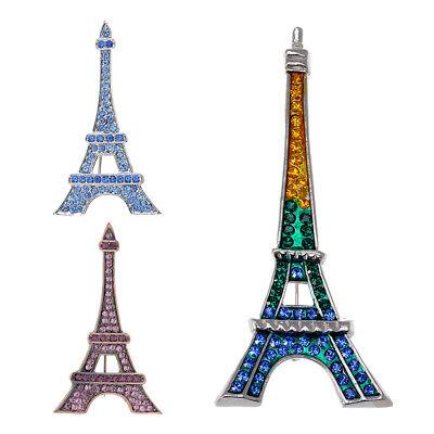 Fashionable Paris Eiffel Tower Rhinestone Crystal Pin Brooch Pendant Jewelry