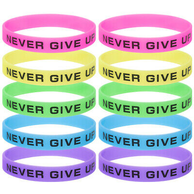 Glow Wristbands Bulk (10x Lot Adult Never Give Up Silicone Wristband Glow in the Dark Rubber)