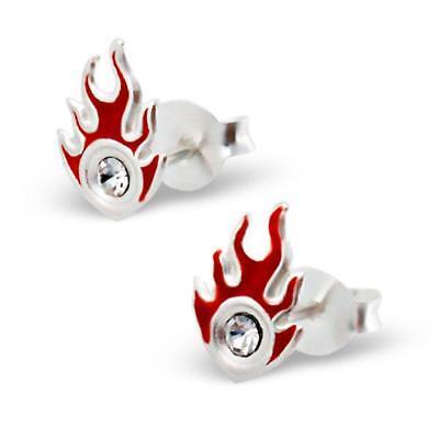 925 Silber Kinder Ohrringe Ohrstecker Flamme rot CZ OK048 (Flamme Ohrringe)