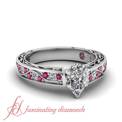 1.15 Ct Pear Shaped D-Color Diamond & Pink Sapphire Engagement Ring 14K Gold GIA