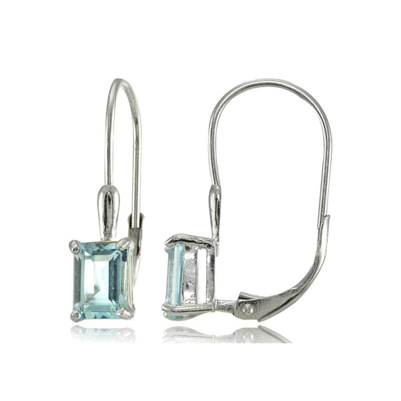 Sterling Silver Blue Topaz 7x5mm Emerald Shape Leverback Earrings