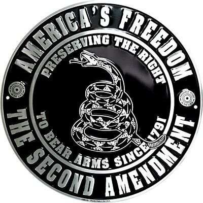 """America's Freedom the Second Amendment 12"""" Round Metal Sign Embossed Home Decor"""