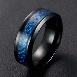 Black 8mm Band Retro Celtic Dragon Tungsten Carbide Ring