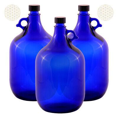 3 X Globo de Cristal Botella 5 Litros Azul Flor la Vida...