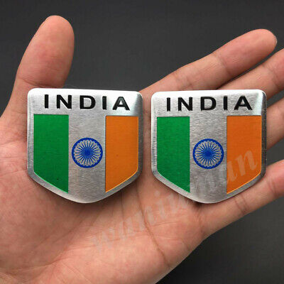 2x India Indian Shield Flag Car Emblem Badge Motorcycle Gas Tank Sticker Decals