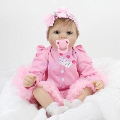 22'' Handmade Reborn Baby Dolls Lifelike Vinyl Silicone Newborn Babies Girl Gift