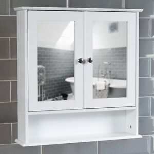 Surprising Mirrored Bathroom Cabinet Double Doors Bath Wall Mounted Storage Furniture White Complete Home Design Collection Barbaintelli Responsecom