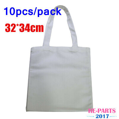 10pcs 3234cm Premium Blank Heat Press Sublimation Canvas Shopping Bags Tote Bag
