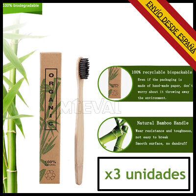 Cepillo de Dientes Bambu - Pack 3 Cepillos de Dientes Ecologicos, Bio,...