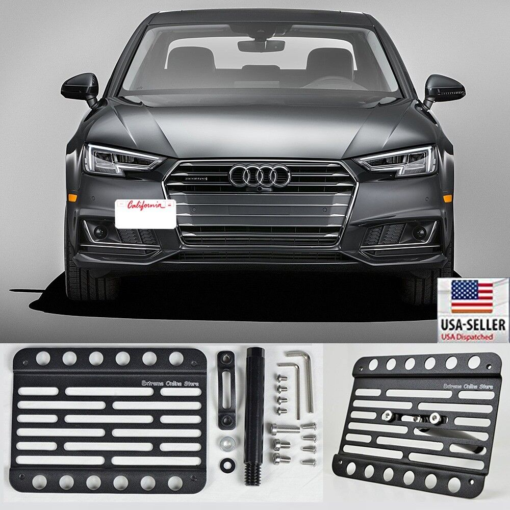 For 17-Up Audi A4 B9 Front Tow Hook Mount License Plate Relocator Bracket