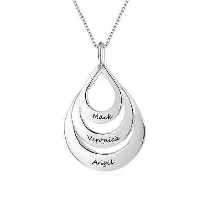 Personalized Mother Day Gifts (Water Drop Personalized Engraving Name Necklaces Family Gift for Mother's)