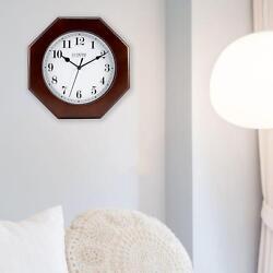 Analog Wall Clock Octagonal Wood Quartz Schoolhouse Modern Decor Home Office Gym