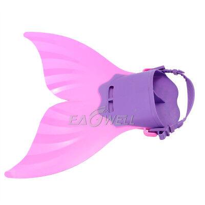 US Kids Girls Pink Mermaid Tail Monofin Swimming Costumes Flipper Diving Fins (Girls Pink Mermaid Costume)