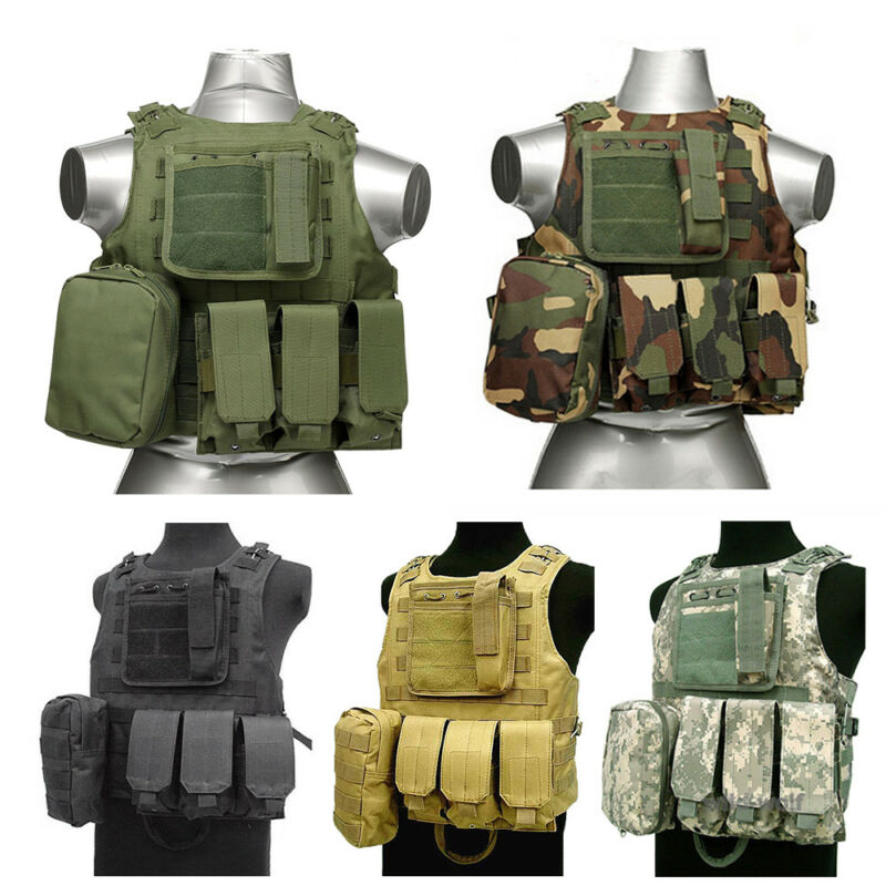 Tactical Military Molle Waistcoat Swat Police Combat Assault Plate Carrier Vest