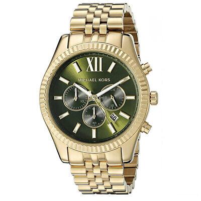 Neu Michael Kors MK8446 Lexington Series Herren Chronograph Green Dial Herrenuhr