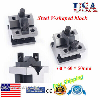 60x60x50mm Cast Iron Vee Blocks Matched Pair With Clamp V Block Premium Us Stock