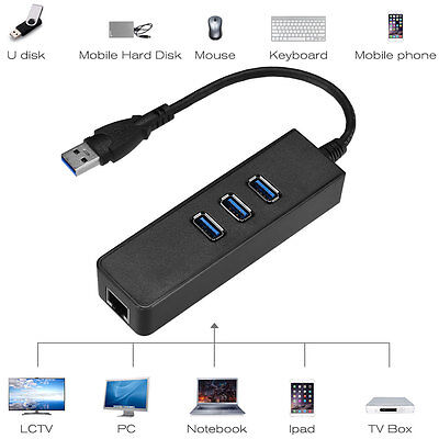 3-Ports USB 3.0 Gigabit Ethernet Lan RJ45 Network Adapter Hu