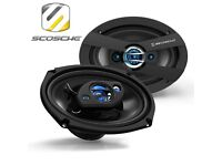 "Scosche HD6904 300w 3 Way 6x9"" Car Audio Rear Parcel Shelf Boot Door Speakers - Pair"