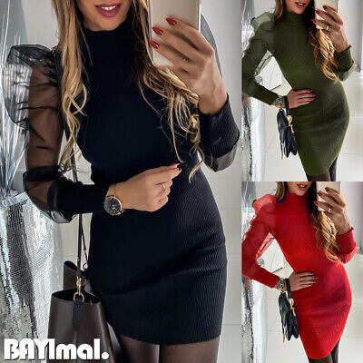 Womens Mesh Puff Long Sleeve Mini Dress Ladies Casual Party Sexy Bodycon Dresses