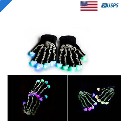Black Graphic Gloves with Glowing Skeleton and Skull Prints Light - Skeleton Print Gloves