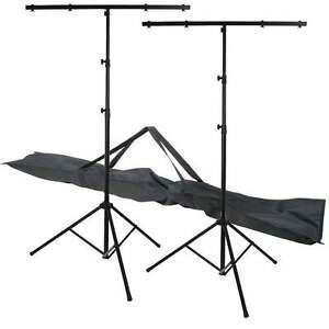2 x UKDJ 3 Section T Bar Lighting Stand High Quality Light Weight DJ T-Bar + Bag