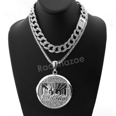 Iced Out MEDALLION LAST SUPPER II Miami Cuban Choker Chain Tennis Necklace (Out Medallion)