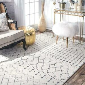 NEW nuLOOM RZBD16A Moroccan Blythe Area Rug, 5 x 7 5, Grey Condtion: New, 5 x 7 5, Grey/Off-white