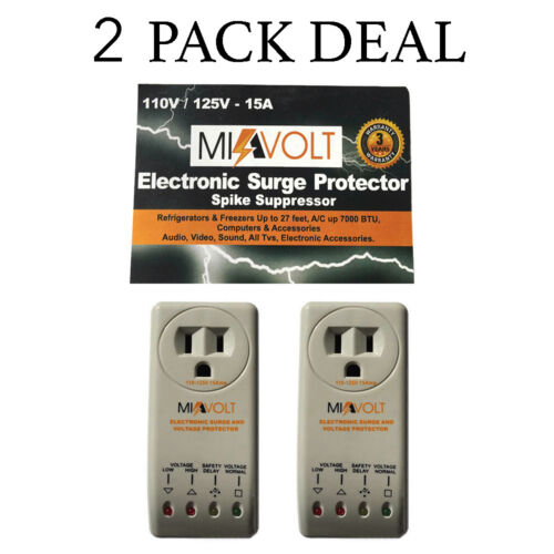 2-Pack Refrigerator 1800 Watts Voltage Brownout Appliance Surge Protector NEW