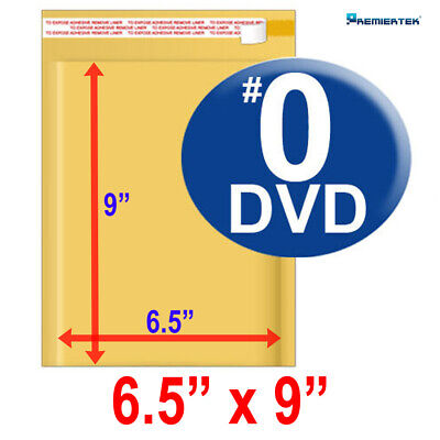 Size 0 6.5x9 Kraft Bubble Mailer Dvd Cd Wide 250 Ct Fast Shipping