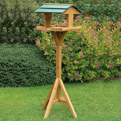 TRADITIONAL GARDEN WOODEN BIRD FEEDER FEEDING TABLE FREE STANDING BIRDS HOUSE