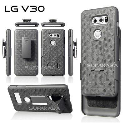 For LG V30 Holster Combo Case Cover Rugged Belt Clip Kickstand Slim Light Black