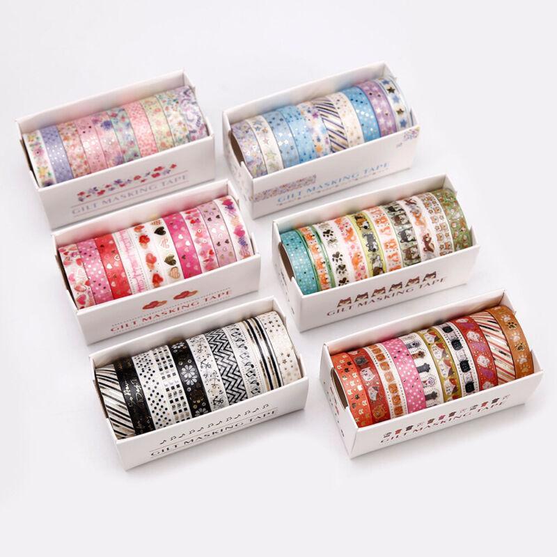 10X Bronzing Washi Tape Masking Sticker Set DIY Scrapbooking Diary Planner Craft