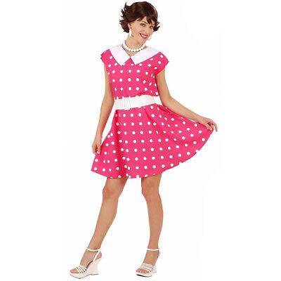 Pink White 1950s Rock n Roll Polka Dot Dance Tea Dress Fancy Dress Costume
