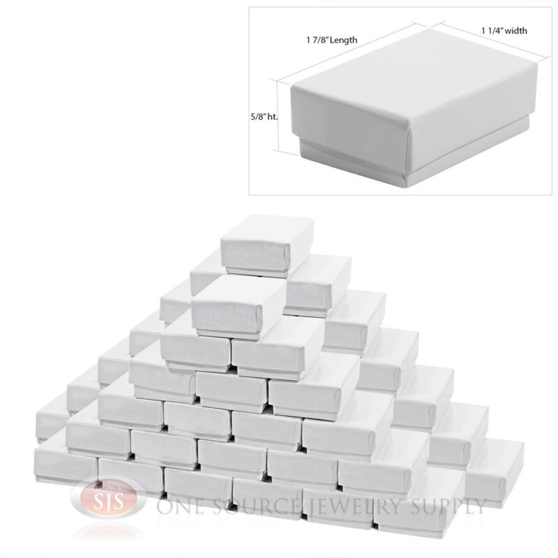 """50 Gloss White Cotton Filled Gift Boxes 1 7/8"""" x 1 1/4"""" Charm Ring Jewelry Box"""