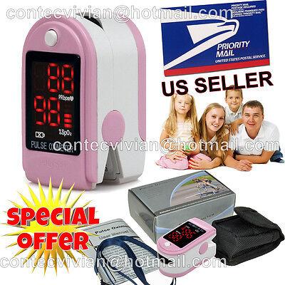 Usa Seller Finger Tip Pulse Oximeter Blood Oxygen Level Spo2 Test Monitorpink