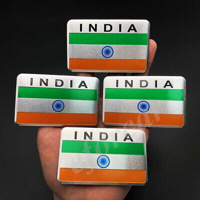 4x Aluminum India Indian Flag Car Emblem Badge Motorcycle Gas Tank Sticker Decal