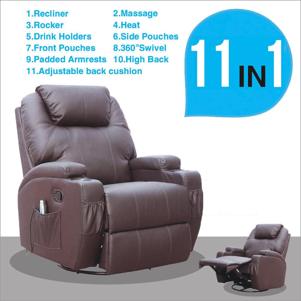 Excellent Details About Massage Recliner Sofa Chair Ergonomic Lounge Swivel Heated With Control Brown Frankydiablos Diy Chair Ideas Frankydiabloscom