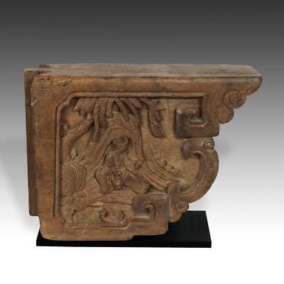 ANTIQUE CHINESE CARVED WOOD CORBEL IRON BASED ARCHITECTURAL 19TH C ()