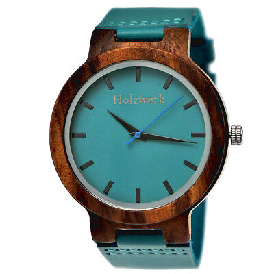 Holzwerk Germany® Herren Damen Natur Holz Armbanduhr Leder Uhr Holzuhr Türkis H8
