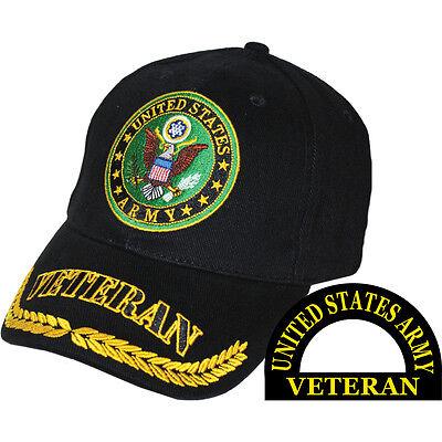 U.S. Army Veteran Hat Eagle Logo, Wreath - Black